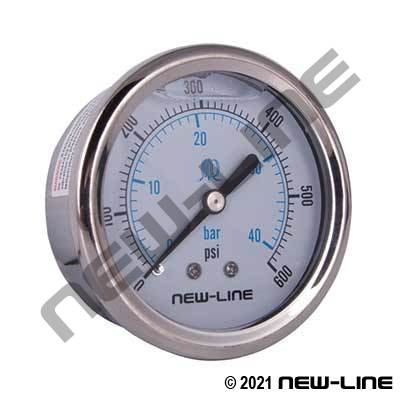 Stainless Steel Liquid Filled Gauge, Center Back Mount