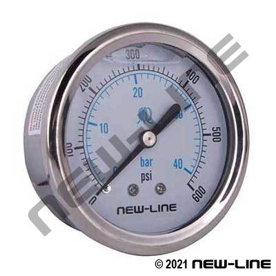 Liquid Filled Gauge, Center Back Mount