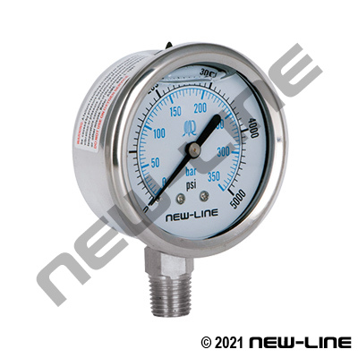 Stainless Steel Liquid Filled Gauge, Lower Mount