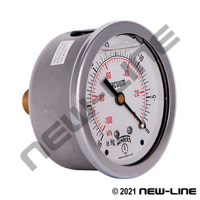 Liquid Filled Vacuum Gauge Center Back Mount