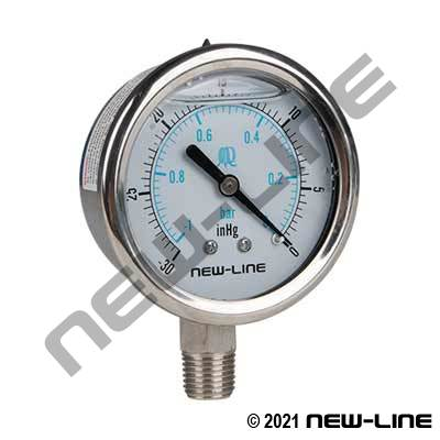 Stainless Liquid Vacuum Gauge With Lower Mount