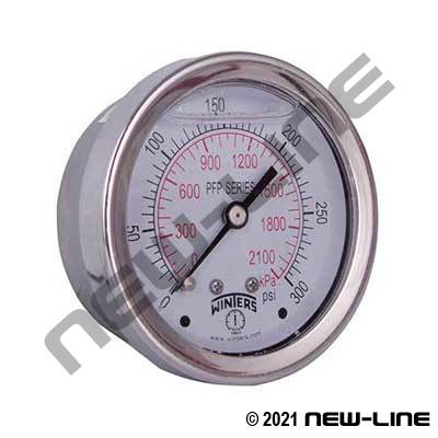 Premium Stainless, Liquid Filled Gauge - Center Back Mount