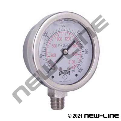 Premium Stainless Steel, Liquid Filled Gauge - Lower Mount