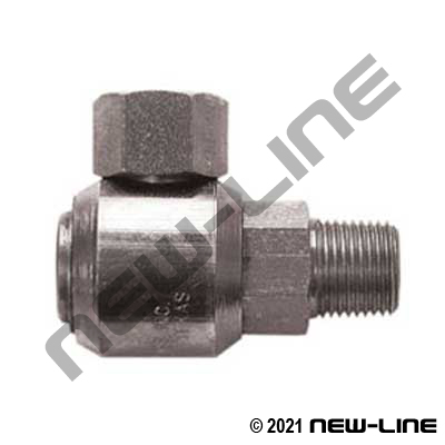 Male NPT Stem X Female ORSF 90° Live Swivel