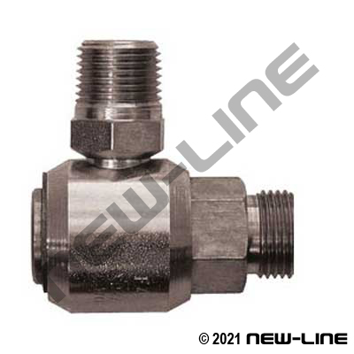 Male ORFS Stem x Male NPT 90° Live Swivel
