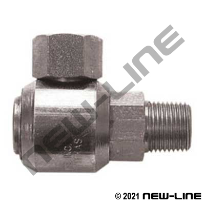 Male NPT Stem X Female NPSM 90° Live Swivel