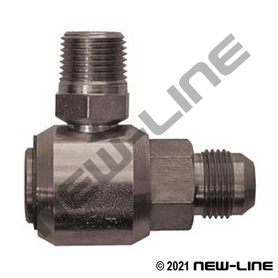 Male JIC Stem X Male NPT 90° Live Swivel