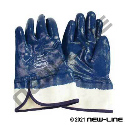 Blue Smooth Nitrile Safety Cuff Glove