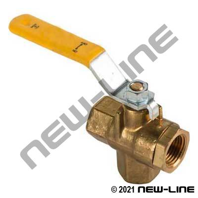 Brass 3-Way Upright Tee Diverter Ball Valve (Center In/L-Flo