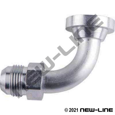 Male JIC x C62 Flange 90° Stainless