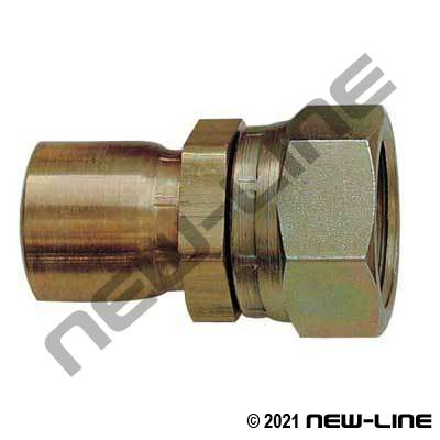 R14 Brass 1-pc Crimp x Female SAE Swivel