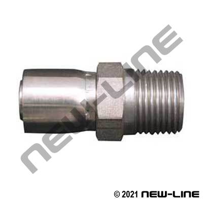 R14 316 Stainless 1-pc Crimp x Male NPT Solid