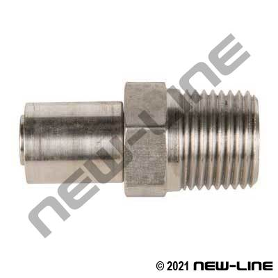 R14 Stainless 2/3 pc Crimp x Male NPT Solid