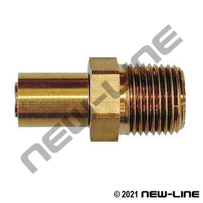 R14 Brass 2/3 pc Crimp x Male NPT Solid