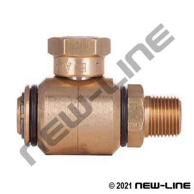 Brass Female NPT x Male NPT 90° Live Swivel