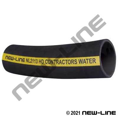 Black Contractors Rubber Water Discharge Hose - 150 PSI