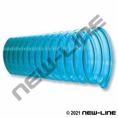 "Clear Blue HD Urethane Blower Duct/.045"" Wall, Wire Helix"