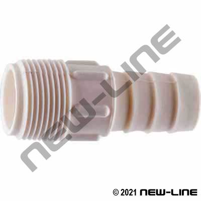 White PVDF Combination KC Hose Nipple