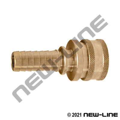 Brass Straight Thru Hose Barb x Coupler