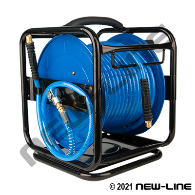 Portable Air Hose Reel with Swivel Base & Blue Serpent Hose