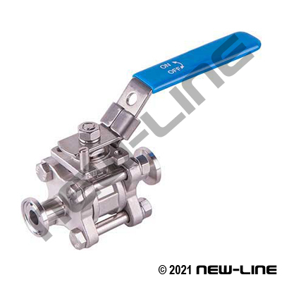 304 Stainless 3-Piece Tri-Clamp Ball Valve/Lock and Mount