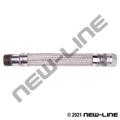 321 Stainless Braided Hose/Carbon Steel FJIC Swivel x MNPT