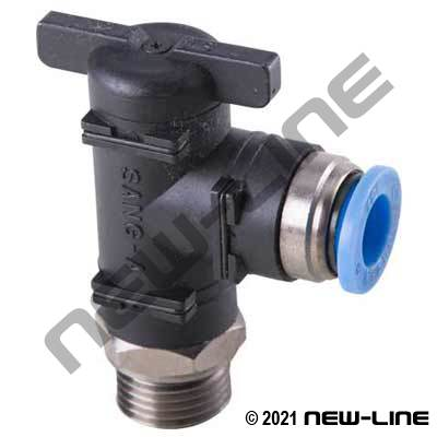 PTC Metric Tube x 90° Male BSPP Ball Valve