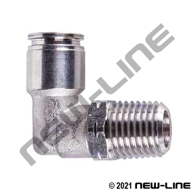 316 Stainless Push to Connect Tube x 90° Male NPT Connector