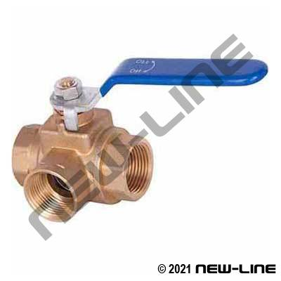 Standard Brass 3-Way Ball Valve - NPT