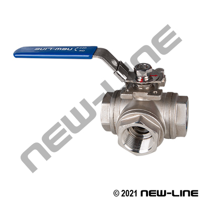 Stainless Steel 3-Way Diverter Ball Valve (Center In/L-Flow)