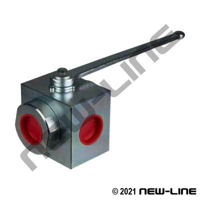 NPT Round Full Port 3Way Center Inlet Ball Valve