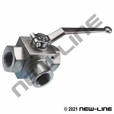NPT True 3 Way Plated Ball Valve
