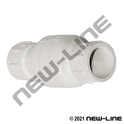 PVC In-Line NPT Check Valve/Stainless Spring and EPDM Seal