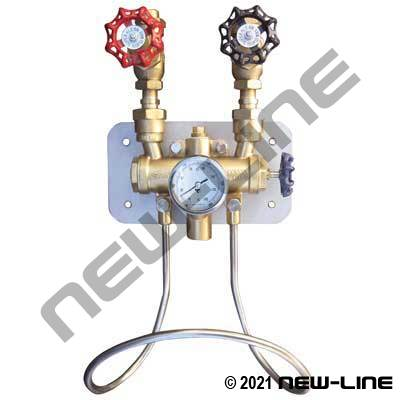 Hot & Cold Water Mix Station/Brass Ball Valves -Temp Gauge