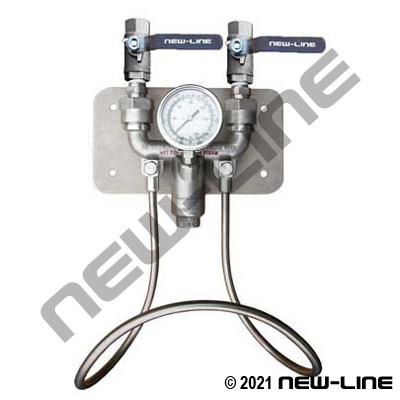 H & C Water Mix Station/Stainless Ball Valves -No Temp Gauge