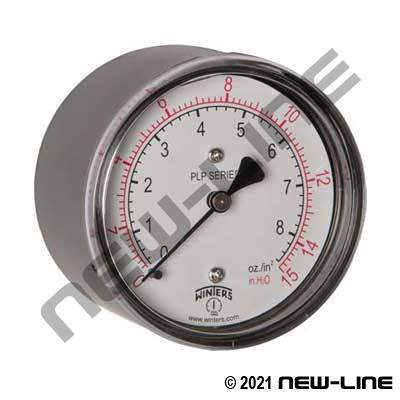 H2O Natural Gas Dry Gauge/Brass Internal - Center Back Mount