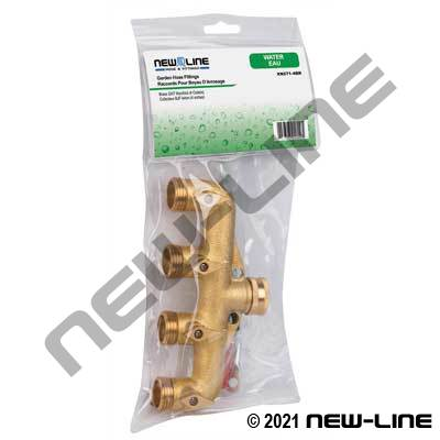 Express Pack Brass Garden Hose Thread Manifold - 4 Outlets